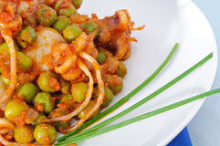 Cuttlefish with peas and chive, closeup Stock Image