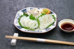 Cuttlefish sashimi, japanese cuisine. Sumiika cuttlefish sashimi, japanese cuisine royalty free stock image