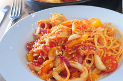 Cuttlefish spaghetti Stock Image