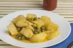 Cuttlefish stew with potatoes and peas series 03 Royalty Free Stock Photography