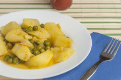 Cuttlefish stew with potatoes and peas series 02 Royalty Free Stock Image