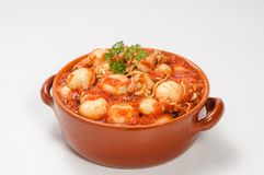 Cuttlefish with tomato sauce. In the stone pan Royalty Free Stock Image