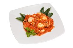 Cuttlefish with tomato sauce. In white dish Royalty Free Stock Image