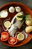 Cuttlefish uncooked, Squid Mediterranean seafood Royalty Free Stock Photos