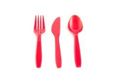 Cuttlery plástico vermelho Imagem de Stock