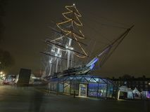 Cutty sark at Christmas. Cutty sark in greenwhich decorated for Christmas Stock Photography