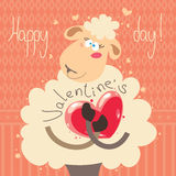 Cuty sheep with heart. On colored background. EPS. 10.0. RGB. Illustration can be used as template for event greeting card on Valentines day Stock Images