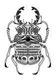 Cuvera dibujado mano de los odontolabis del zentangle ilustración del vector
