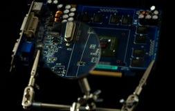 Cuvette électronique de vue de plat la lentille Images stock