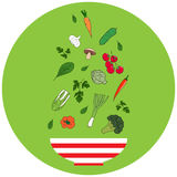 Cuvette avec des légumes Conception plate Illustration tirée par la main de vecteur Photographie stock libre de droits