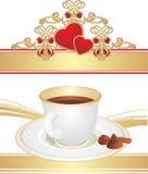 Cuvette avec du café et des sucreries Images libres de droits