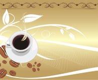 Cuvette avec du café sur le fond abstrait.   Photo libre de droits