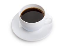 Cuvette avec du café sur le fond blanc photo stock