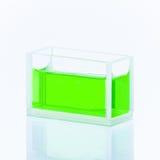 Cuvette avec le liquide vert Photographie stock libre de droits