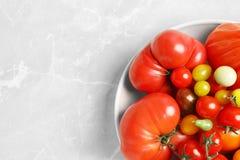 Cuvette avec les tomates et l'espace juteux savoureux photos libres de droits