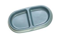 Cuvette bleue pour des aliments pour chats Photo stock