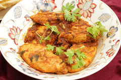 Cuvette cachemirienne de portion de poulet photographie stock