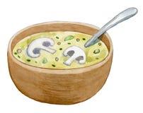 Cuvette d'argile avec la soupe à crème de champignon - aquarelle Images libres de droits