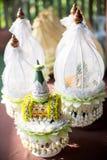 Cuvette d'engagement pour la cérémonie thaïlandaise d'engagement ensemble des prix de jeune mariée, fait à partir de la feuille d Images libres de droits
