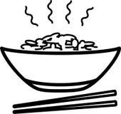 Cuvette d'icône avec du riz et les baguettes chauds illustration libre de droits
