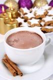 Cuvette de biscuits de chocolat chaud et de Noël Photo libre de droits