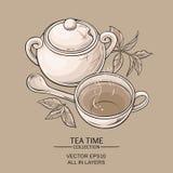 Cuvette de bol de thé et de sucre Illustration Stock