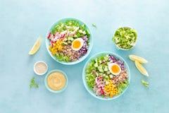 Cuvette de Bouddha avec l'oeuf à la coque, le riz et la salade végétale de la laitue, du radis, du concombre, du maïs, de l'o photos libres de droits