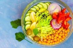 Cuvette de Bouddha - pâtes de courgette, déjeuner de vegan Photo libre de droits