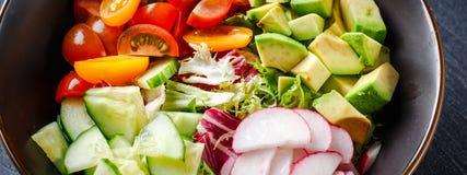 Cuvette de Bouddha de Vegan Salade v?g?tarienne saine avec les tomates-cerises, le concombre, le radis, l'avocat et la laitue photos libres de droits