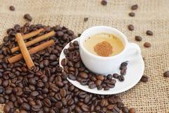 Cuvette de café avec de la cannelle Images libres de droits