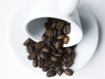 Cuvette de café avec des graines de café Images libres de droits