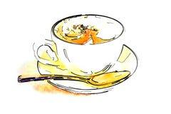 Cuvette de café avec du café chaud Illustration Stock
