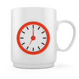 Cuvette de café avec l'horloge Photo stock