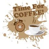 Cuvette de café avec l'horloge d'alarme Photos stock