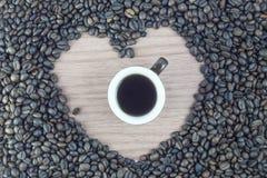 Cuvette de café avec le coeur Photo libre de droits