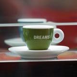 Cuvette de café avec le message Photographie stock
