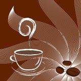 Cuvette de café avec les haricots et le soleil. vecteur Photographie stock libre de droits