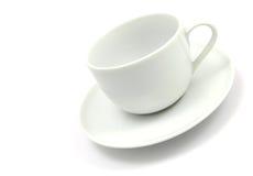 Cuvette de café blanc vide Photographie stock libre de droits