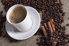 Cuvette de café chaude avec de la cannelle et des graines de café Photo stock