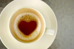 Cuvette de café chaude, concept d'amour Photos stock