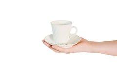 Cuvette de café de fixation de main Photos libres de droits