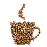 Cuvette de café des grains de café d'isolement sur le blanc Photo stock