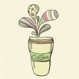 Cuvette de café en plastique avec le couvercle Deux variations de couleur Illustration Stock