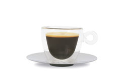 Cuvette de café en verre Photographie stock