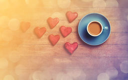 Cuvette de café et de biscuit Photographie stock libre de droits