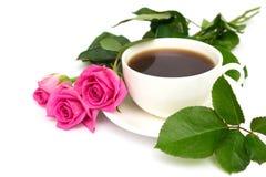 Cuvette de café et de roses Images libres de droits