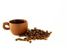 Cuvette de café et grain de café Photos stock