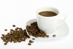 Cuvette de café et haricot - 1 Images libres de droits