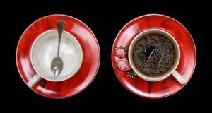 Cuvette de café rouge Images stock