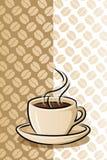 Cuvette de café sur le fond d'haricot illustration de vecteur